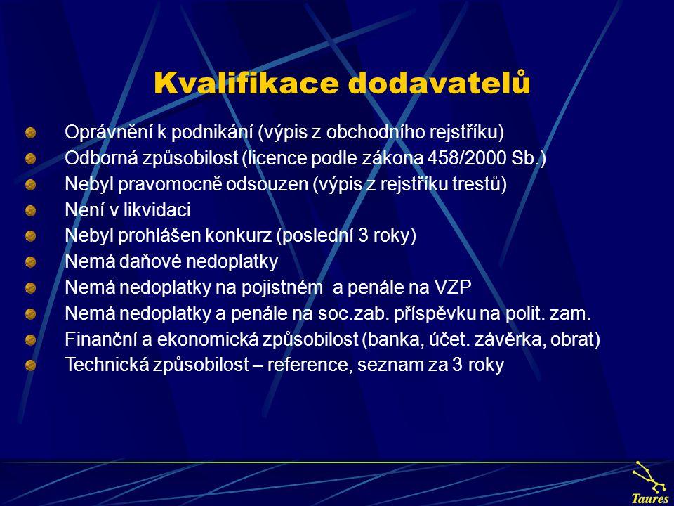 Kvalifikace dodavatelů Oprávnění k podnikání (výpis z obchodního rejstříku) Odborná způsobilost (licence podle zákona 458/2000 Sb.) Nebyl pravomocně o