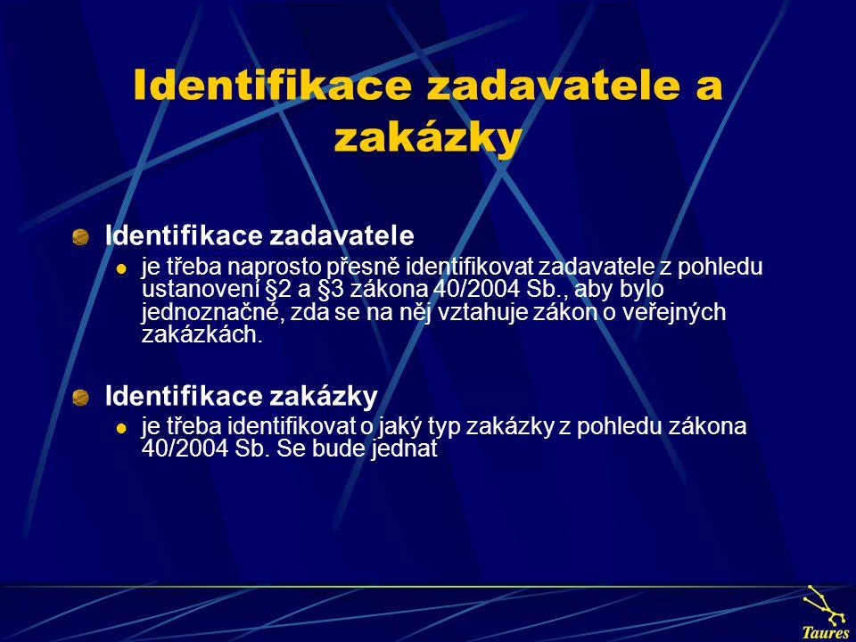 Identifikace zadavatele a zakázky Identifikace zadavatele je třeba naprosto přesně identifikovat zadavatele z pohledu ustanovení §2 a §3 zákona 40/200