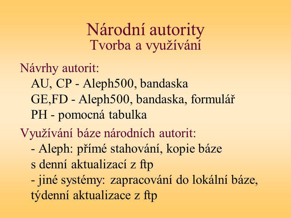 Národní autority Tvorba a využívání Návrhy autorit: AU, CP - Aleph500, bandaska GE,FD - Aleph500, bandaska, formulář PH - pomocná tabulka Využívání báze národních autorit: - Aleph: přímé stahování, kopie báze s denní aktualizací z ftp - jiné systémy: zapracování do lokální báze, týdenní aktualizace z ftp