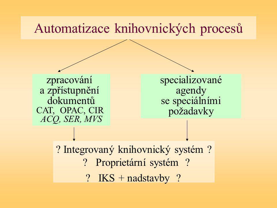 Automatizace knihovnických procesů . Integrovaný knihovnický systém .