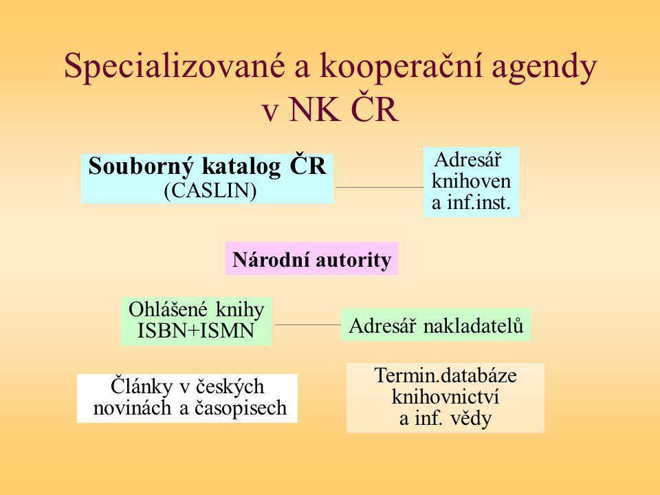 Z39.50 přístup k bázím NK Stahování záznamů Nastavení přístupu: sigma.nkp.cz, port 9909 Jméno báze podle formátu a kódování: MARC21 + CP-1250: SKC (SKCM, SKCP), AUT, NKC Unimarc + CP-1250: SKC-U (SKCM-U, SKCP-U), AUT-U, NKC-U MARC21 + UTF-8: SKC-M8 atd.