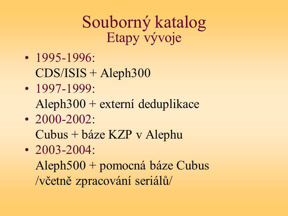 Souborný katalog Etapy vývoje 1995-1996: CDS/ISIS + Aleph300 1997-1999: Aleph300 + externí deduplikace 2000-2002: Cubus + báze KZP v Alephu 2003-2004: Aleph500 + pomocná báze Cubus /včetně zpracování seriálů/