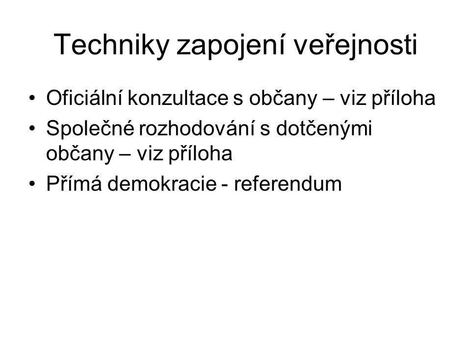 Techniky zapojení veřejnosti Oficiální konzultace s občany – viz příloha Společné rozhodování s dotčenými občany – viz příloha Přímá demokracie - referendum