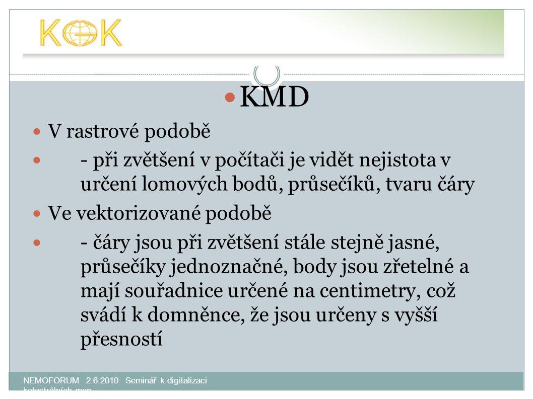 NEMOFORUM 2.6.2010 Seminář k digitalizaci katastrálních map KMD V rastrové podobě - při zvětšení v počítači je vidět nejistota v určení lomových bodů,