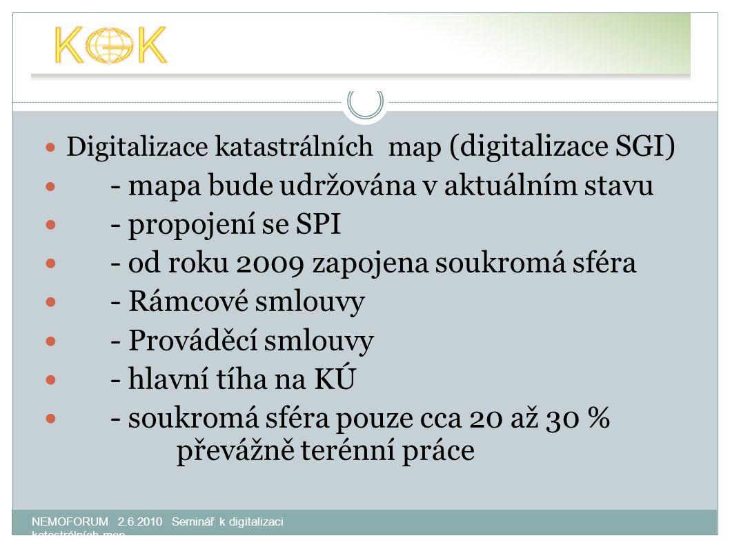 NEMOFORUM 2.6.2010 Seminář k digitalizaci katastrálních map Digitalizace katastrálních map (digitalizace SGI) - mapa bude udržována v aktuálním stavu - propojení se SPI - od roku 2009 zapojena soukromá sféra - Rámcové smlouvy - Prováděcí smlouvy - hlavní tíha na KÚ - soukromá sféra pouze cca 20 až 30 % převážně terénní práce