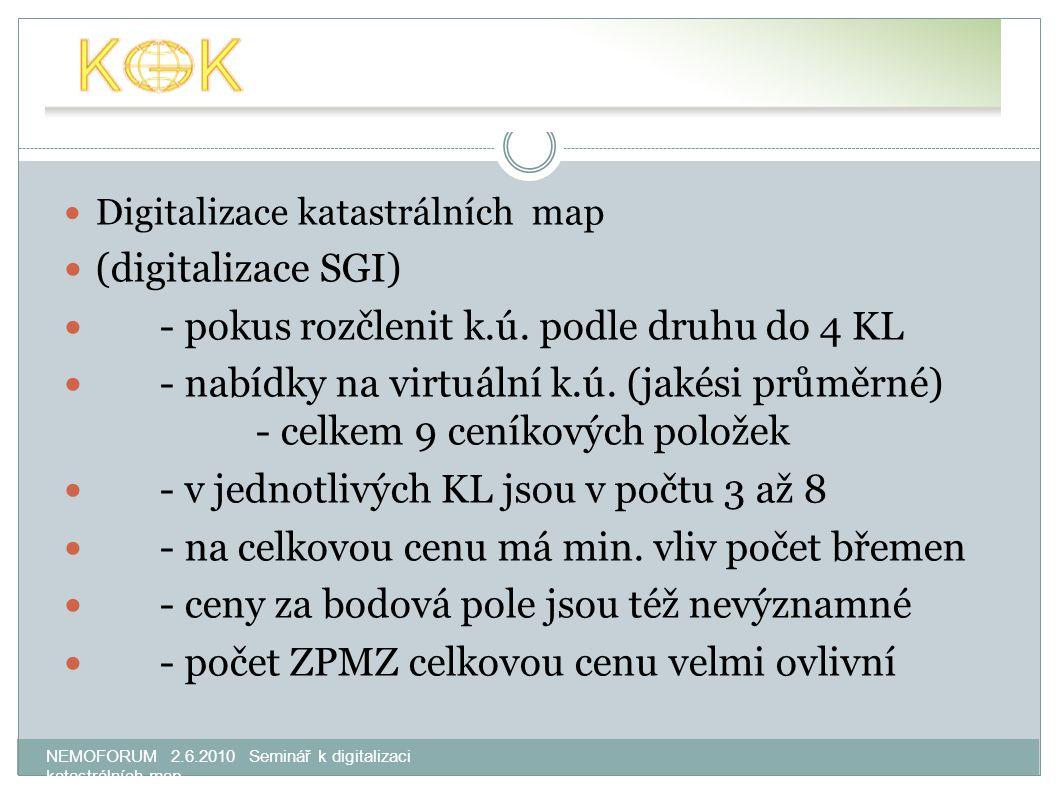 NEMOFORUM 2.6.2010 Seminář k digitalizaci katastrálních map Digitalizace katastrálních map (digitalizace SGI) - pokus rozčlenit k.ú. podle druhu do 4