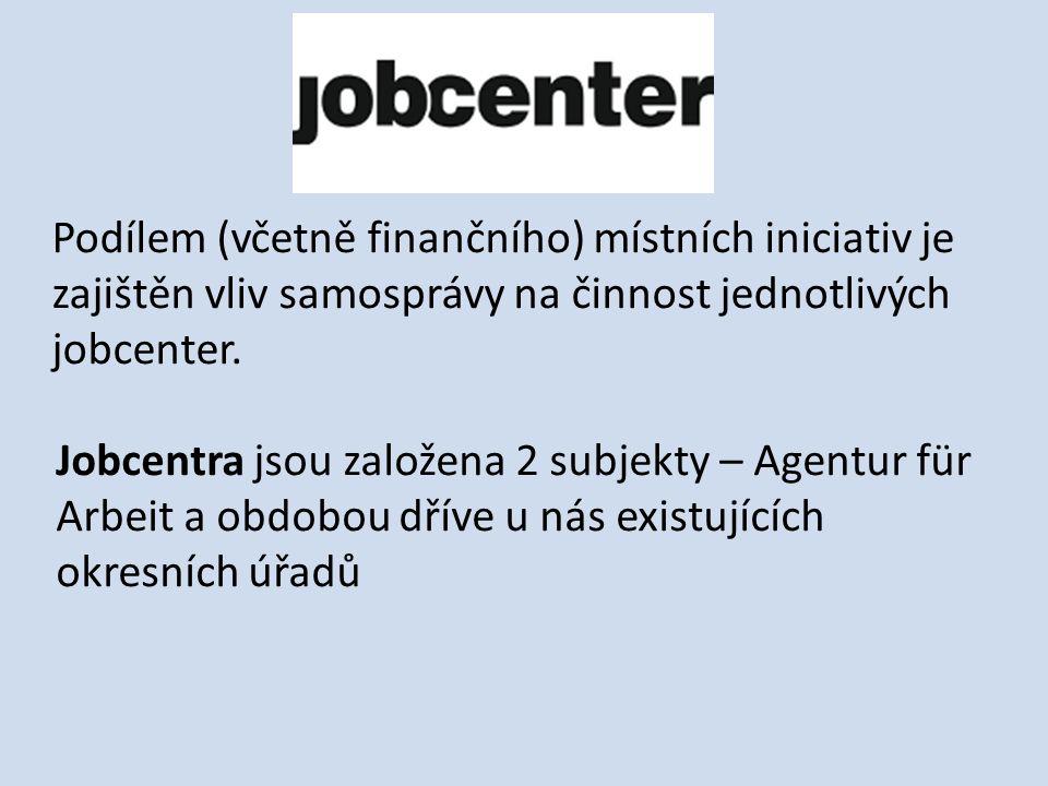 Podílem (včetně finančního) místních iniciativ je zajištěn vliv samosprávy na činnost jednotlivých jobcenter.