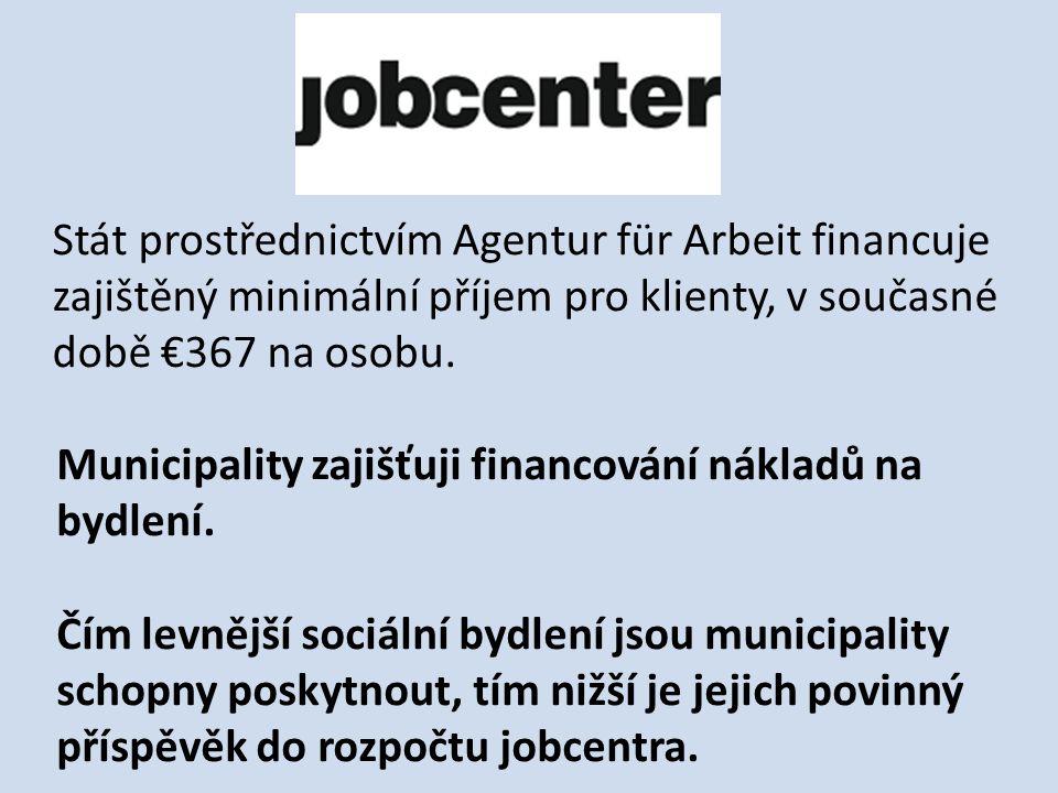 Stát prostřednictvím Agentur für Arbeit financuje zajištěný minimální příjem pro klienty, v současné době €367 na osobu.