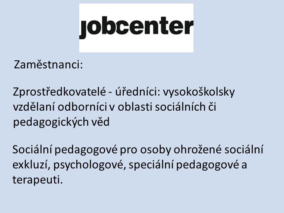 Zaměstnanci: Zprostředkovatelé - úředníci: vysokoškolsky vzdělaní odborníci v oblasti sociálních či pedagogických věd Sociální pedagogové pro osoby ohrožené sociální exkluzí, psychologové, speciální pedagogové a terapeuti.
