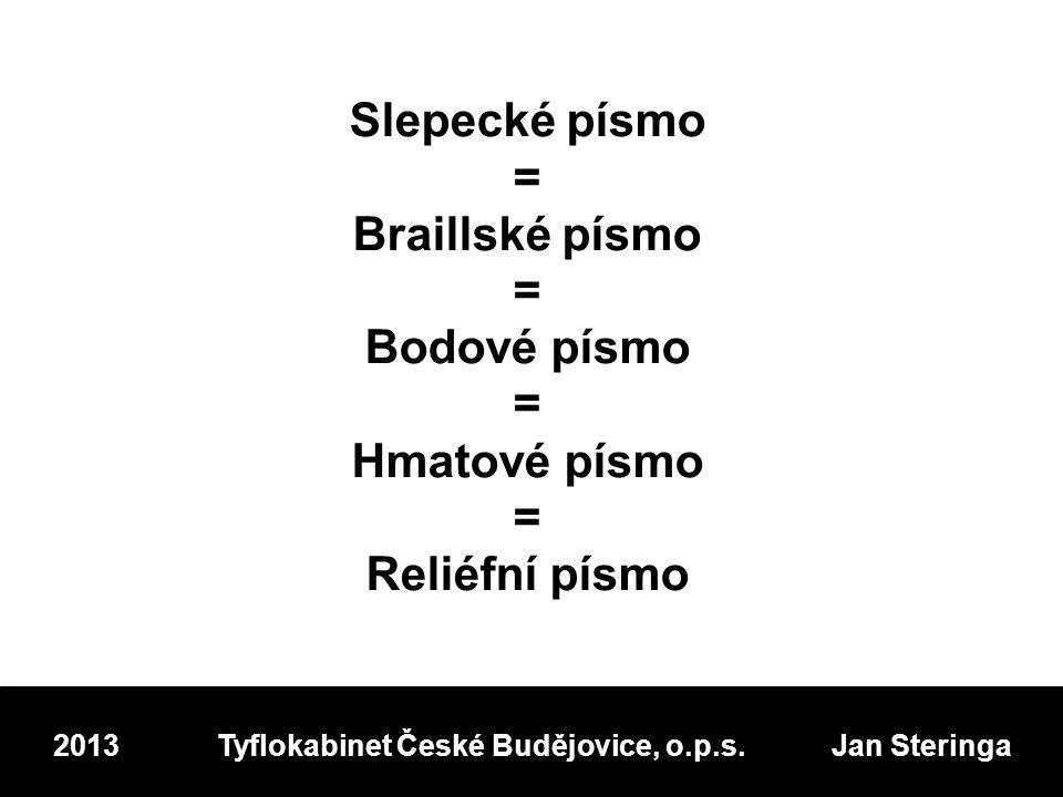 Slepecké písmo = Braillské písmo = Bodové písmo = Hmatové písmo = Reliéfní písmo 2013 Tyflokabinet České Budějovice, o.p.s.