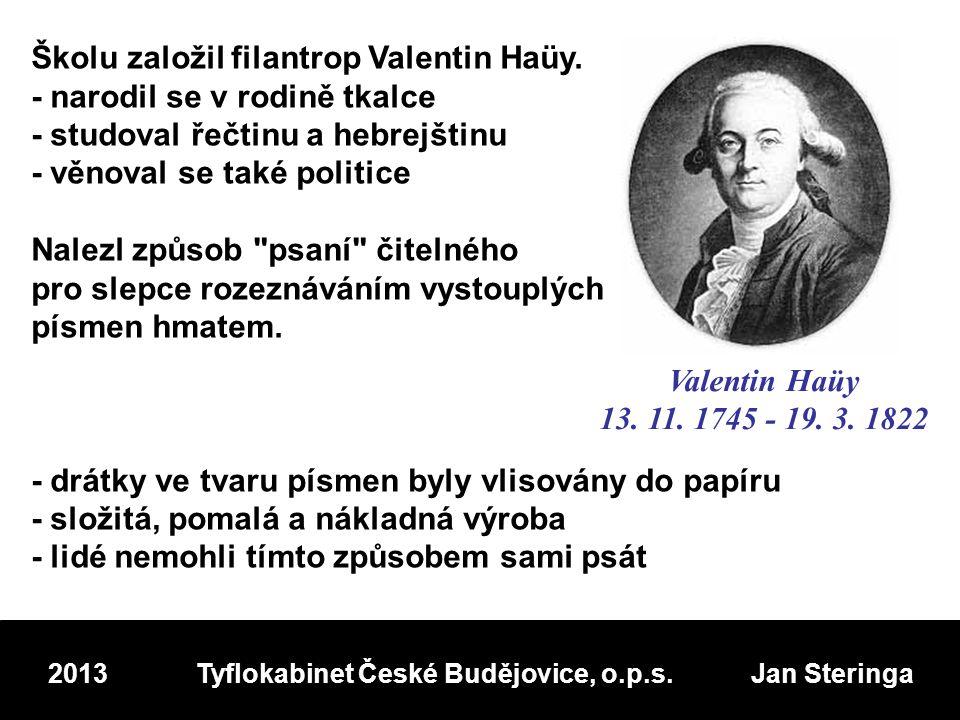 Školu založil filantrop Valentin Haüy.