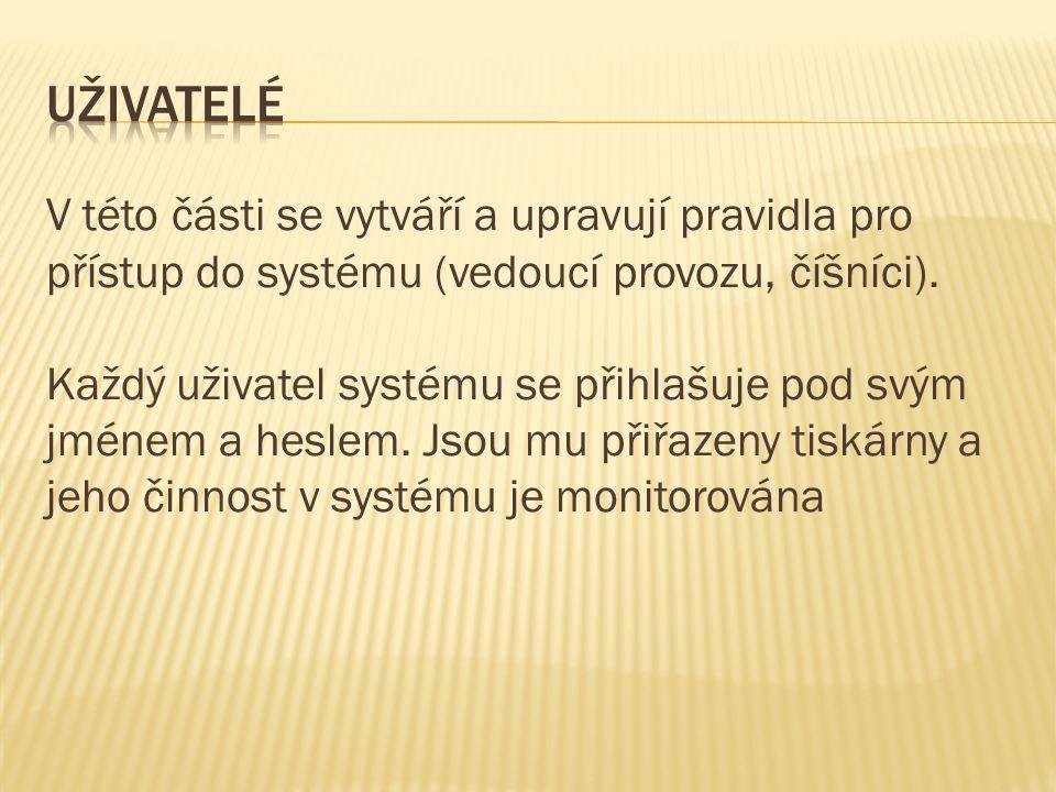 V této části se vytváří a upravují pravidla pro přístup do systému (vedoucí provozu, číšníci).