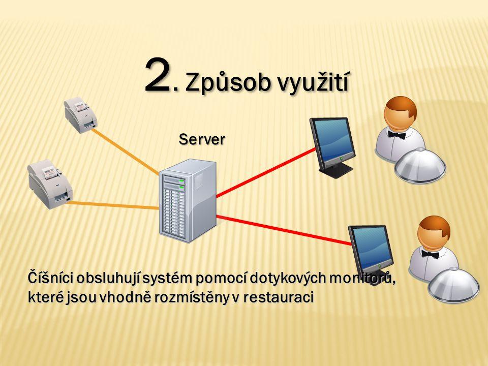2. Způsob využití Číšníci obsluhují systém pomocí dotykových monitorů, které jsou vhodně rozmístěny v restauraci Server