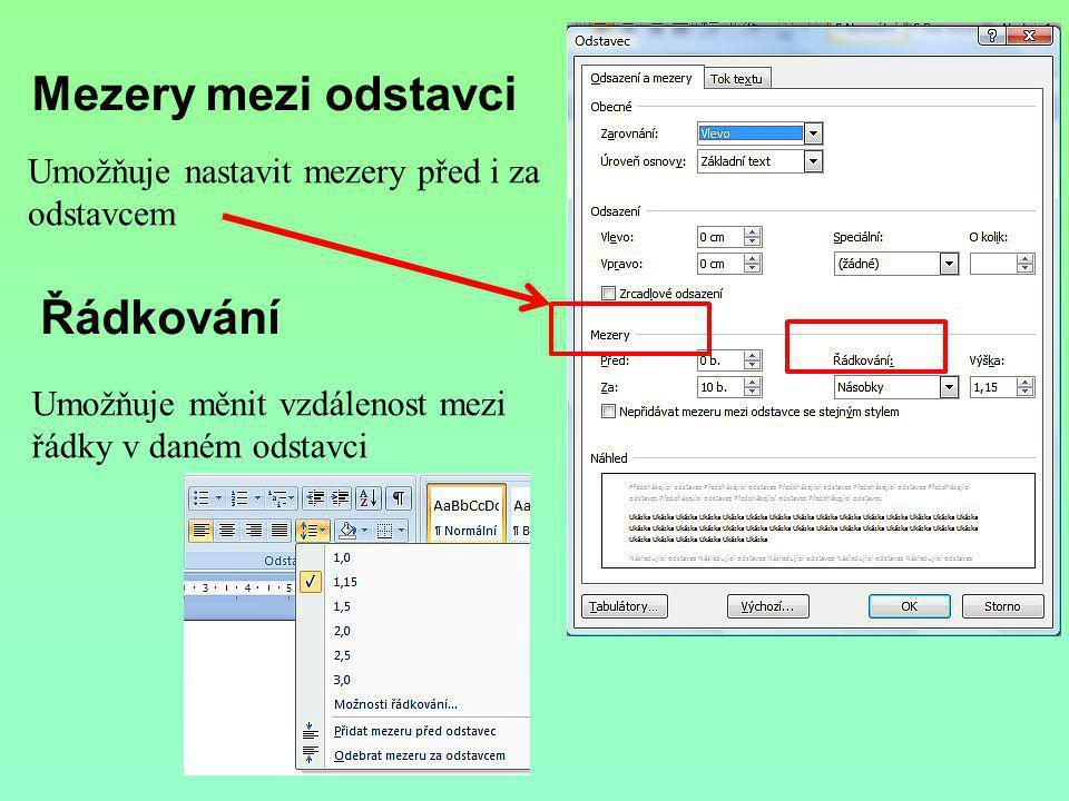 Řádkování Umožňuje měnit vzdálenost mezi řádky v daném odstavci Mezery mezi odstavci Umožňuje nastavit mezery před i za odstavcem