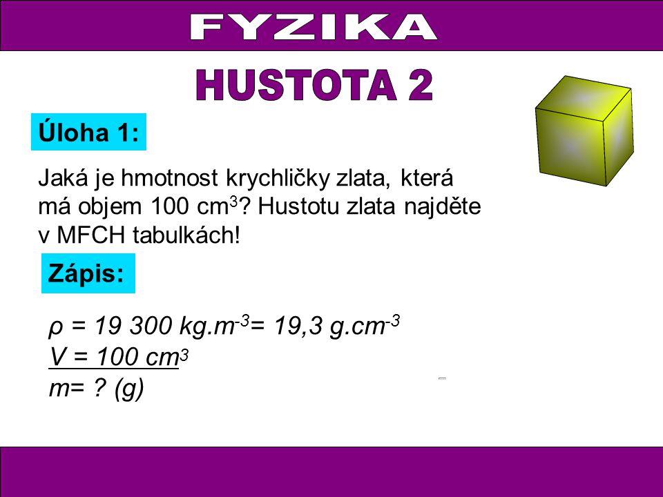 Jaká je hmotnost krychličky zlata, která má objem 100 cm 3 .