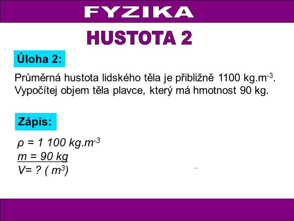 Průměrná hustota lidského těla je přibližně 1100 kg.m -3.