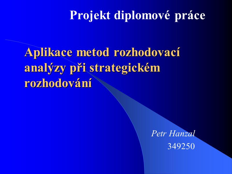 Zpracování diplomové práce  Petr Hanzal  UČO: 349250  Katedra: Podnikové hospodářství  Vedoucí práce: prof.