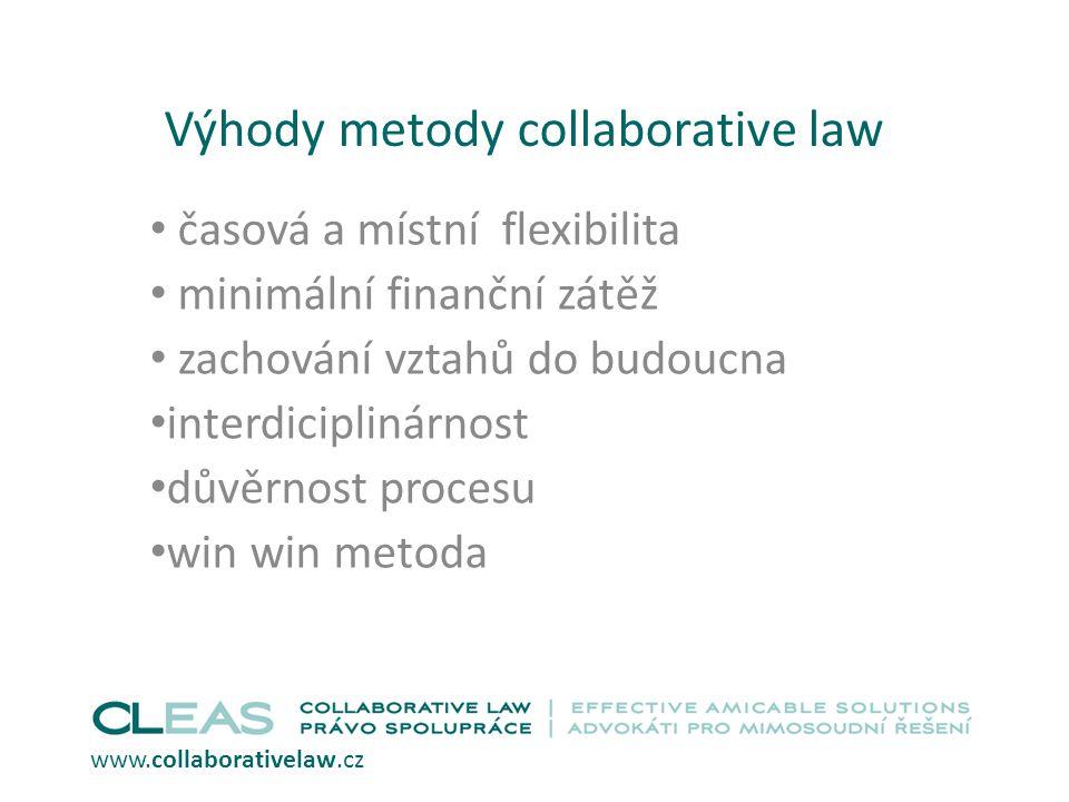 Výhody metody collaborative law časová a místní flexibilita minimální finanční zátěž zachování vztahů do budoucna interdiciplinárnost důvěrnost proces