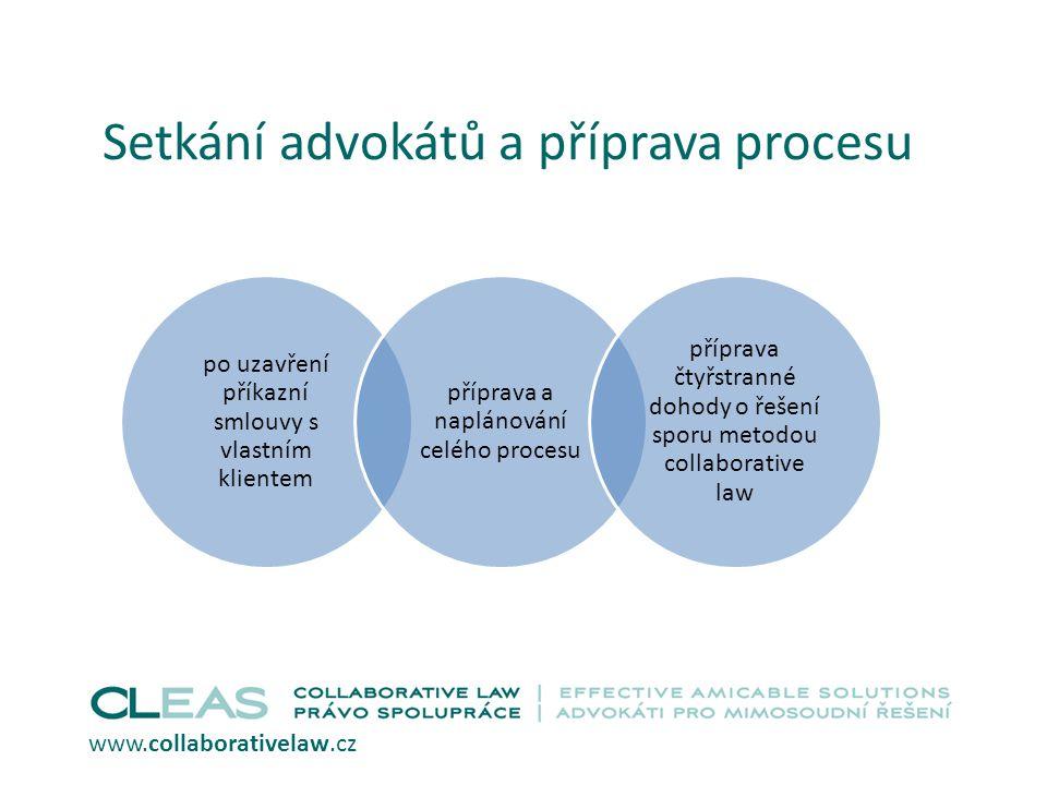 Setkání advokátů a příprava procesu po uzavření příkazní smlouvy s vlastním klientem příprava a naplánování celého procesu příprava čtyřstranné dohody