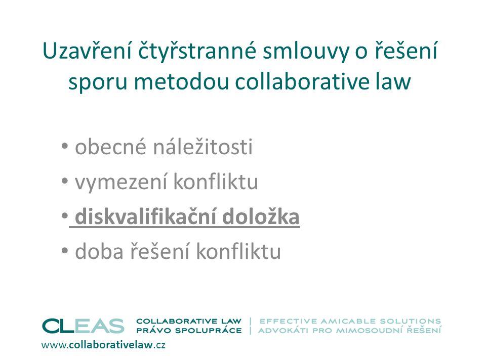 Uzavření čtyřstranné smlouvy o řešení sporu metodou collaborative law obecné náležitosti vymezení konfliktu diskvalifikační doložka doba řešení konfli