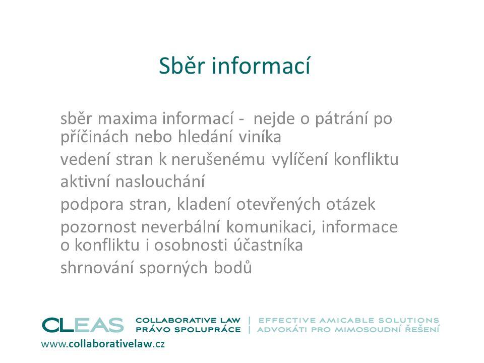Sběr informací sběr maxima informací - nejde o pátrání po příčinách nebo hledání viníka vedení stran k nerušenému vylíčení konfliktu aktivní naslouchá