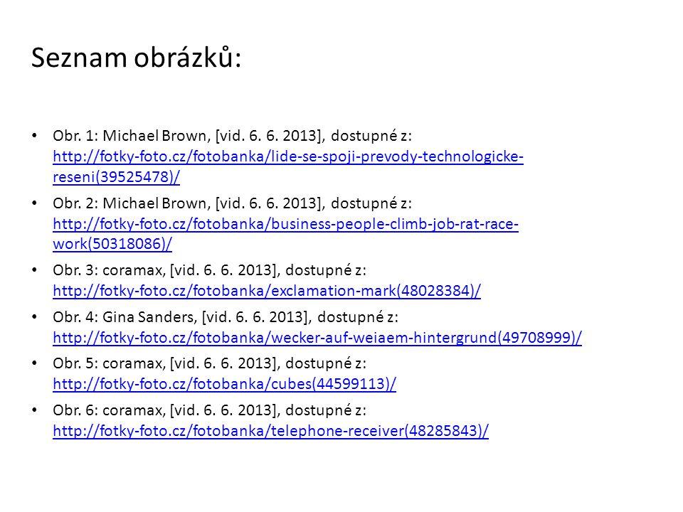Seznam obrázků: Obr. 1: Michael Brown, [vid. 6. 6. 2013], dostupné z: http://fotky-foto.cz/fotobanka/lide-se-spoji-prevody-technologicke- reseni(39525