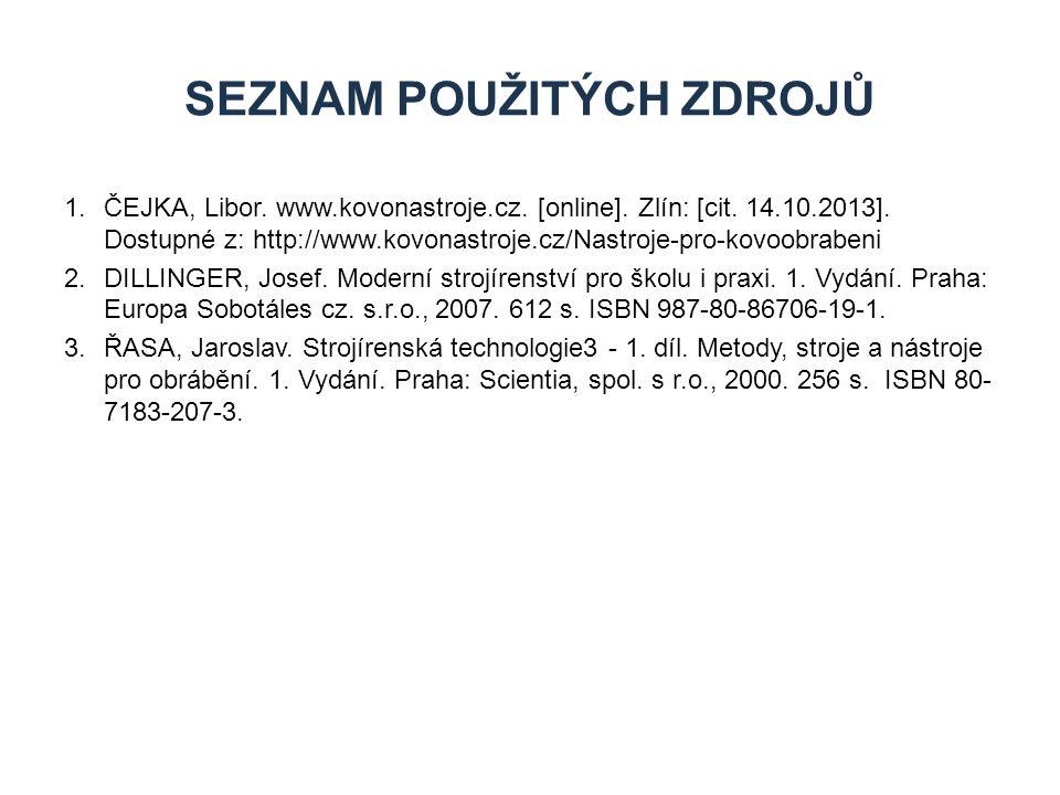 1.ČEJKA, Libor. www.kovonastroje.cz. [online]. Zlín: [cit. 14.10.2013]. Dostupné z: http://www.kovonastroje.cz/Nastroje-pro-kovoobrabeni 2.DILLINGER,