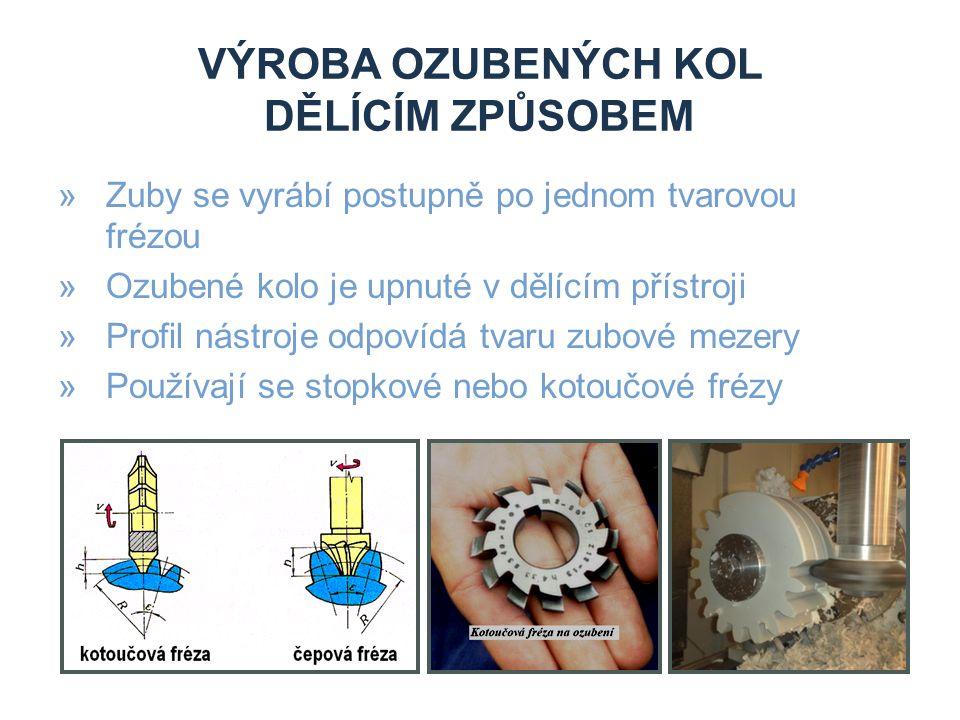 VÝROBA OZUBENÝCH KOL DĚLÍCÍM ZPŮSOBEM »Zuby se vyrábí postupně po jednom tvarovou frézou »Ozubené kolo je upnuté v dělícím přístroji »Profil nástroje odpovídá tvaru zubové mezery »Používají se stopkové nebo kotoučové frézy