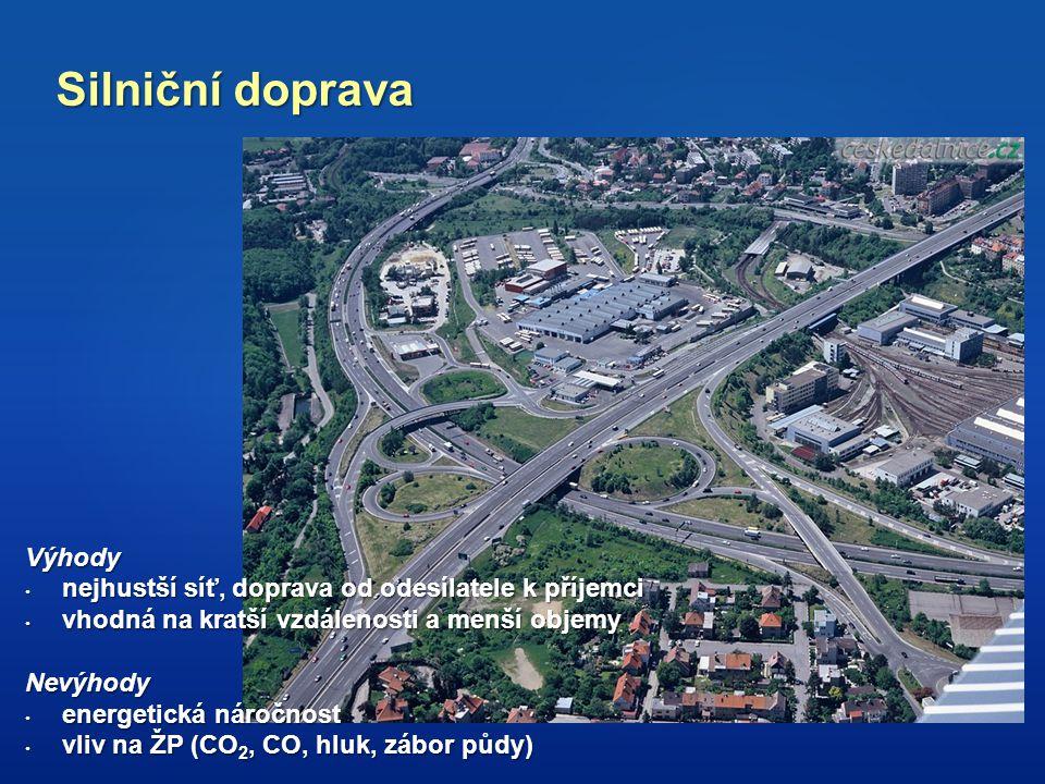 Silniční doprava Výhody nejhustší síť, doprava od odesílatele k příjemci nejhustší síť, doprava od odesílatele k příjemci vhodná na kratší vzdálenosti