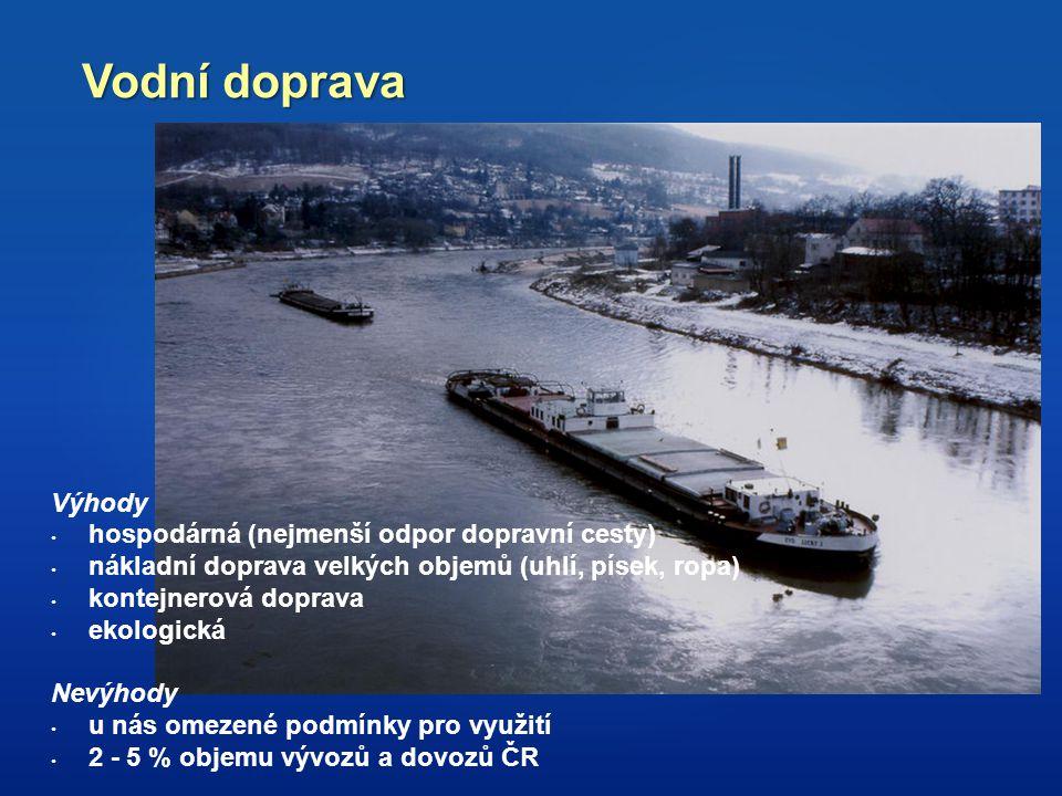 Vodní doprava Výhody hospodárná (nejmenší odpor dopravní cesty) nákladní doprava velkých objemů (uhlí, písek, ropa) kontejnerová doprava ekologická Ne