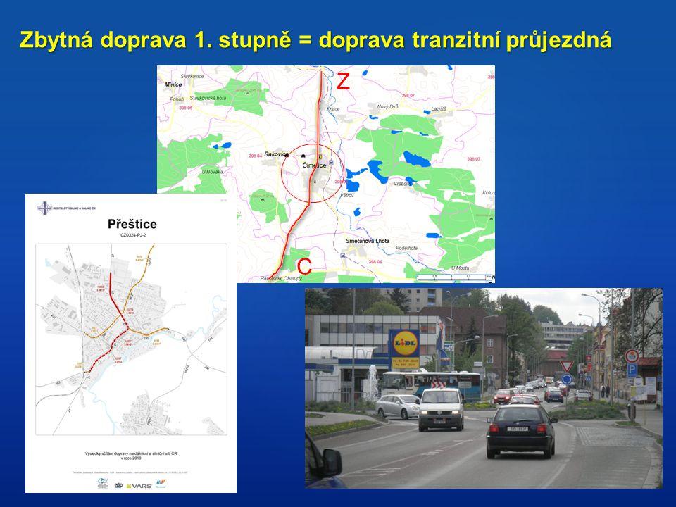 Zbytná doprava 1. stupně = doprava tranzitní průjezdná Z C
