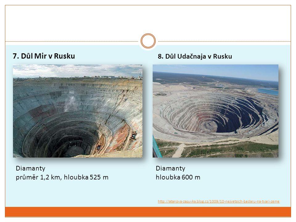 7. Důl Mir v Rusku Diamanty průměr 1,2 km, hloubka 525 m 8. Důl Udačnaja v Rusku Diamanty hloubka 600 m http://atanova-zasuvka.blog.cz/1009/10-nejvets
