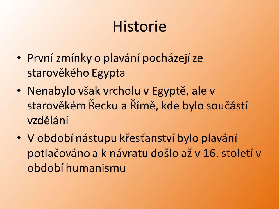 Historie První zmínky o plavání pocházejí ze starověkého Egypta Nenabylo však vrcholu v Egyptě, ale v starověkém Řecku a Římě, kde bylo součástí vzděl