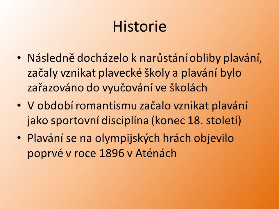Historie Následně docházelo k narůstání obliby plavání, začaly vznikat plavecké školy a plavání bylo zařazováno do vyučování ve školách V období roman