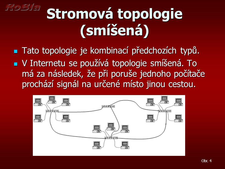 Stromová topologie (smíšená) Stromová topologie (smíšená) Tato topologie je kombinací předchozích typů.