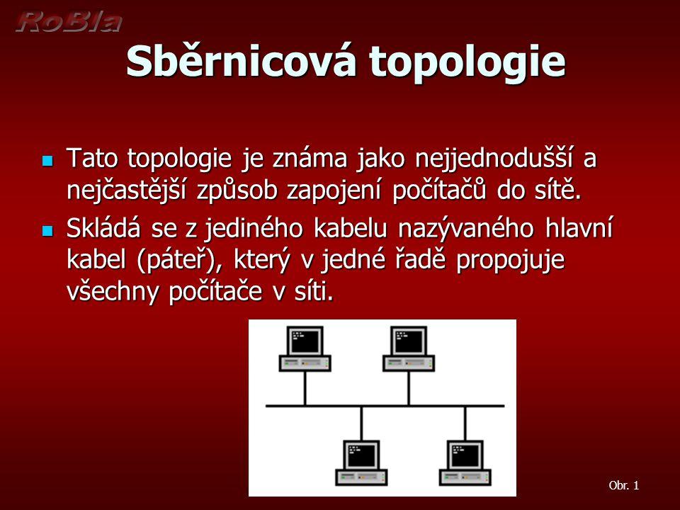 Sběrnicová topologie Sběrnicová topologie Tato topologie je známa jako nejjednodušší a nejčastější způsob zapojení počítačů do sítě.
