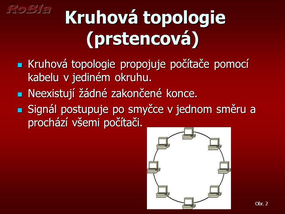 Kruhová topologie (prstencová) Kruhová topologie (prstencová) Kruhová topologie propojuje počítače pomocí kabelu v jediném okruhu.