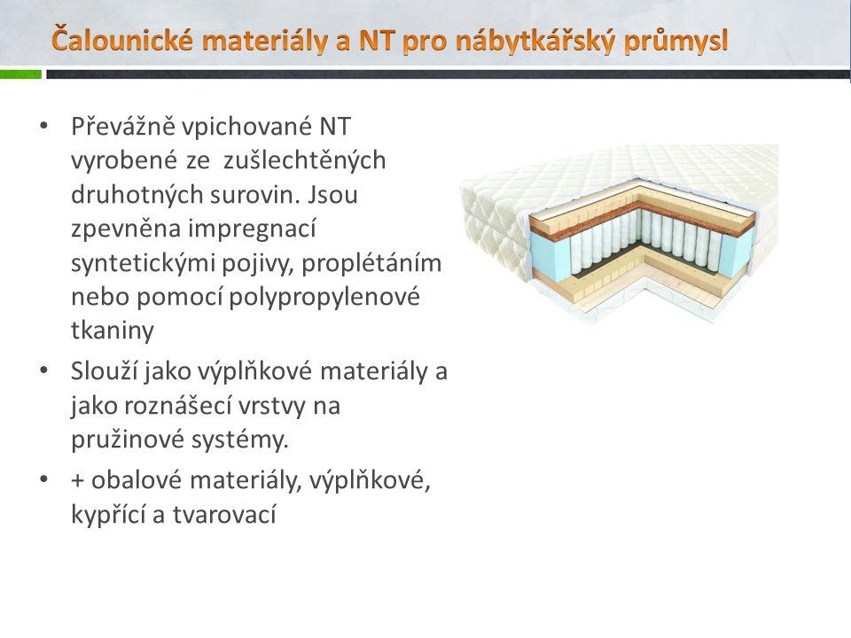 Převážně vpichované NT vyrobené ze zušlechtěných druhotných surovin.