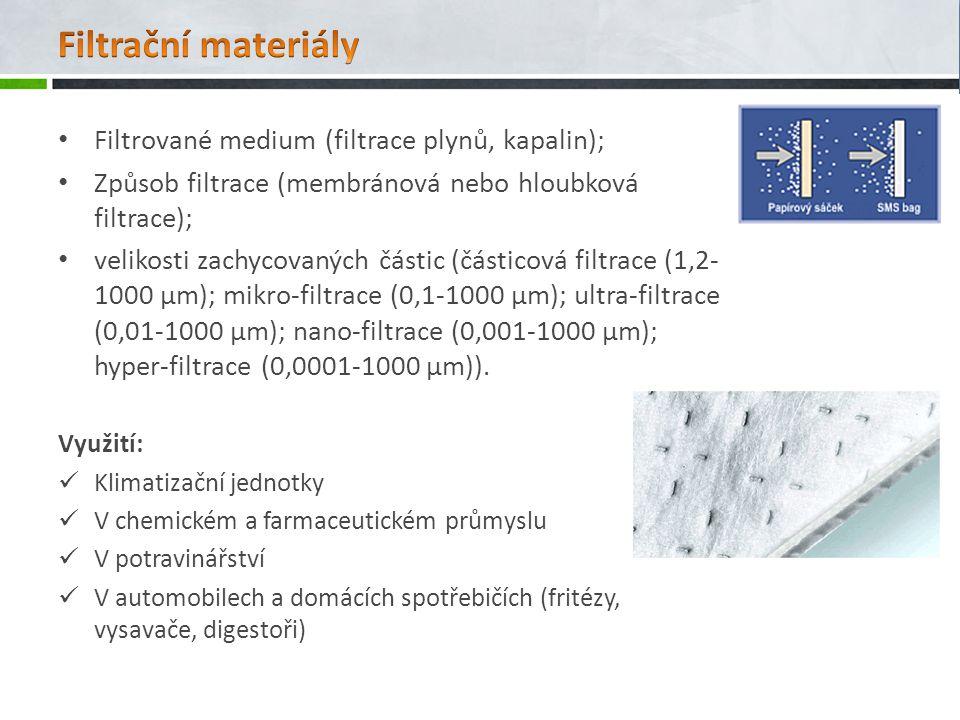 Filtrované medium (filtrace plynů, kapalin); Způsob filtrace (membránová nebo hloubková filtrace); velikosti zachycovaných částic (částicová filtrace (1,2- 1000 μm); mikro-filtrace (0,1-1000 μm); ultra-filtrace (0,01-1000 μm); nano-filtrace (0,001-1000 μm); hyper-filtrace (0,0001-1000 μm)).
