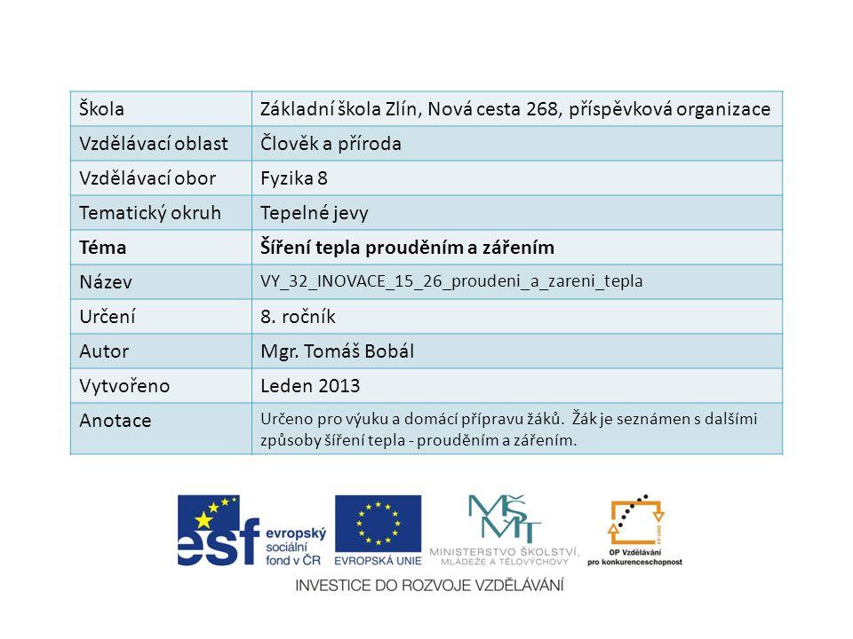 ŠkolaZákladní škola Zlín, Nová cesta 268, příspěvková organizace Vzdělávací oblastČlověk a příroda Vzdělávací oborFyzika 8 Tematický okruhTepelné jevy