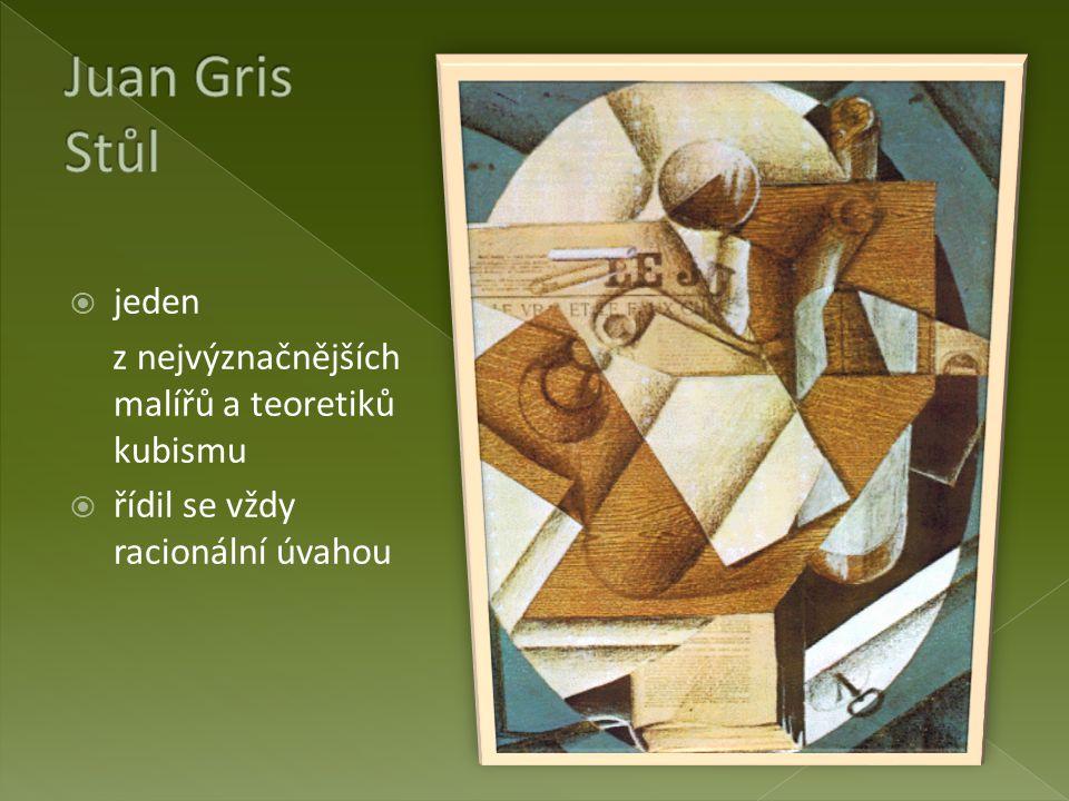  jeden z nejvýznačnějších malířů a teoretiků kubismu  řídil se vždy racionální úvahou
