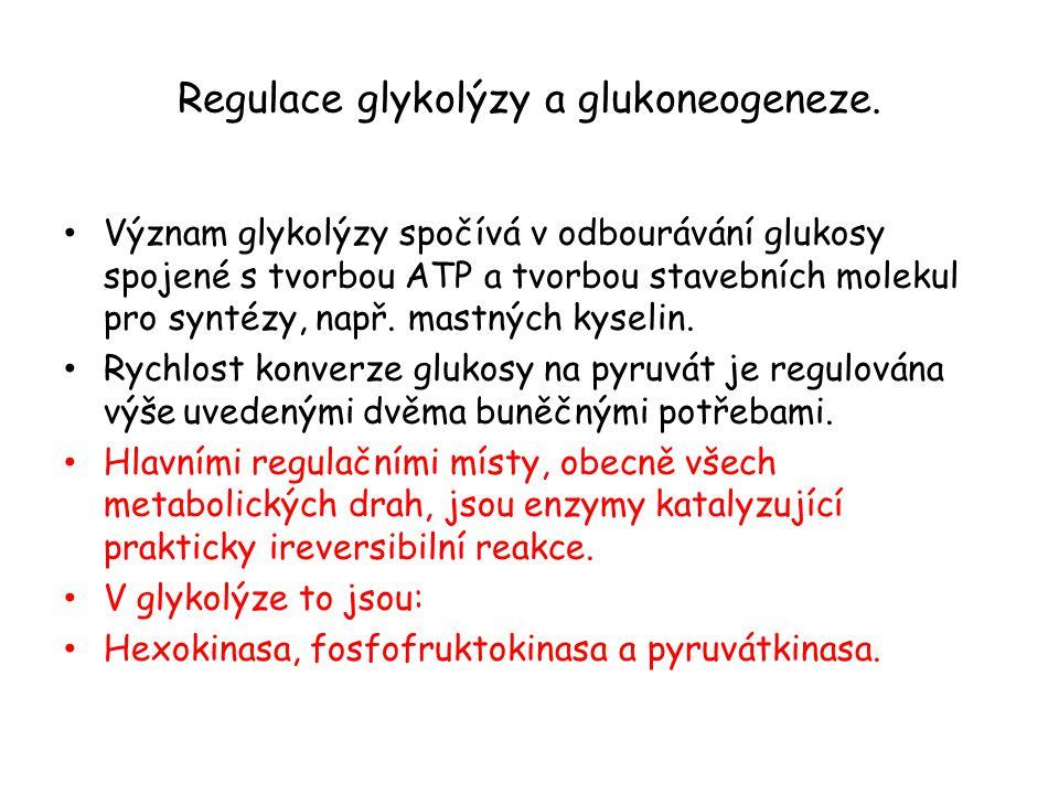Regulace glykolýzy a glukoneogeneze. Význam glykolýzy spočívá v odbourávání glukosy spojené s tvorbou ATP a tvorbou stavebních molekul pro syntézy, na
