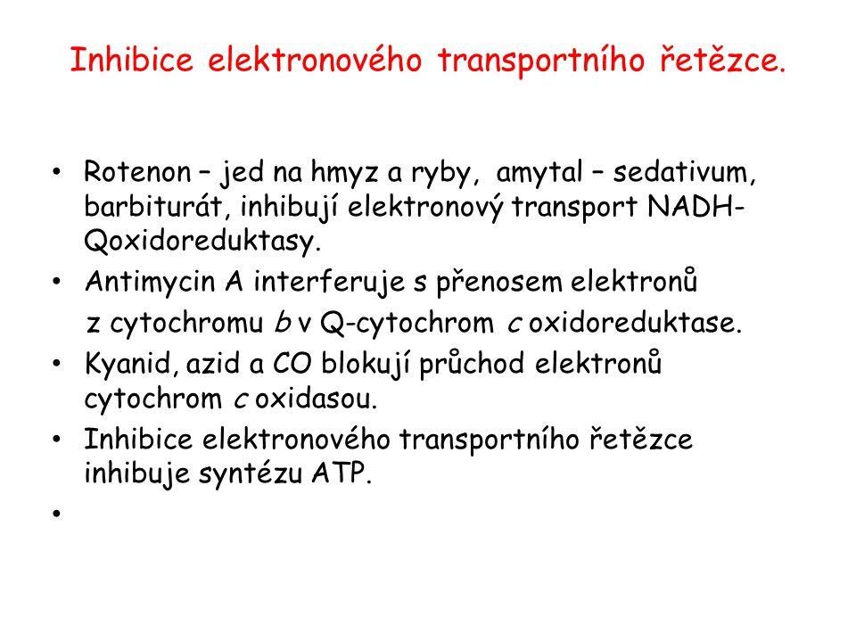 Inhibice elektronového transportního řetězce. Rotenon – jed na hmyz a ryby, amytal – sedativum, barbiturát, inhibují elektronový transport NADH- Qoxid