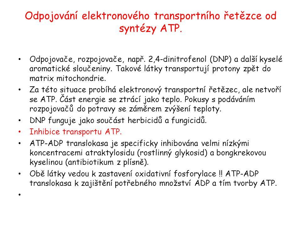 Odpojování elektronového transportního řetězce od syntézy ATP. Odpojovače, rozpojovače, např. 2,4-dinitrofenol (DNP) a další kyselé aromatické sloučen