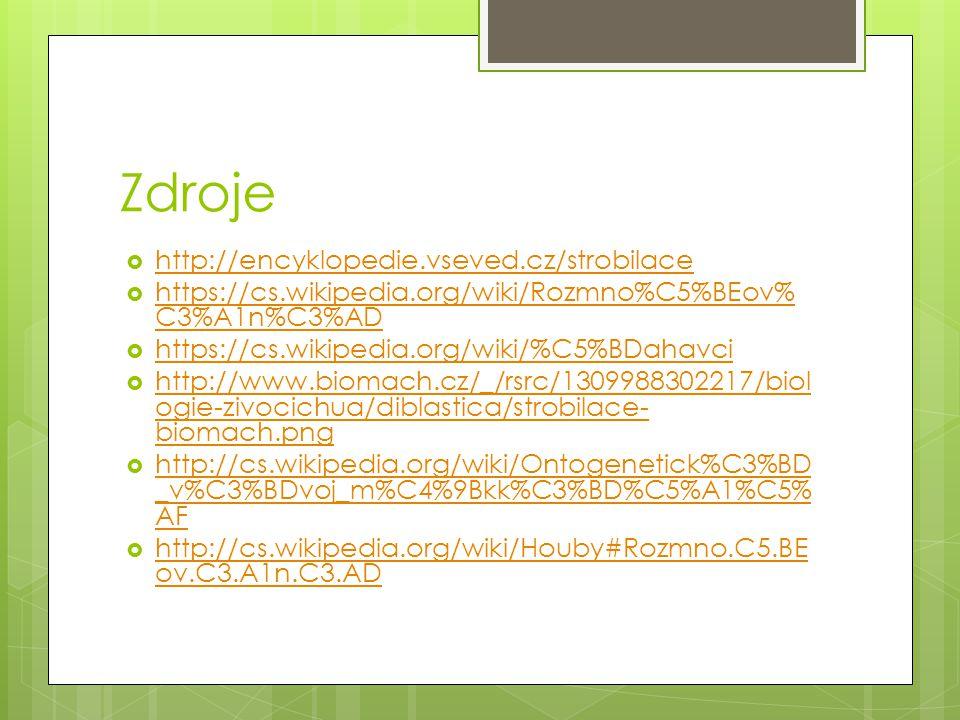 Zdroje  http://encyklopedie.vseved.cz/strobilace http://encyklopedie.vseved.cz/strobilace  https://cs.wikipedia.org/wiki/Rozmno%C5%BEov% C3%A1n%C3%A