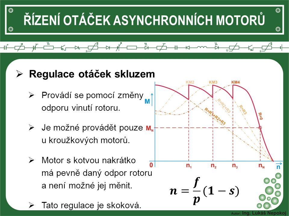  Regulace otáček skluzem  Provádí se pomocí změny odporu vinutí rotoru.