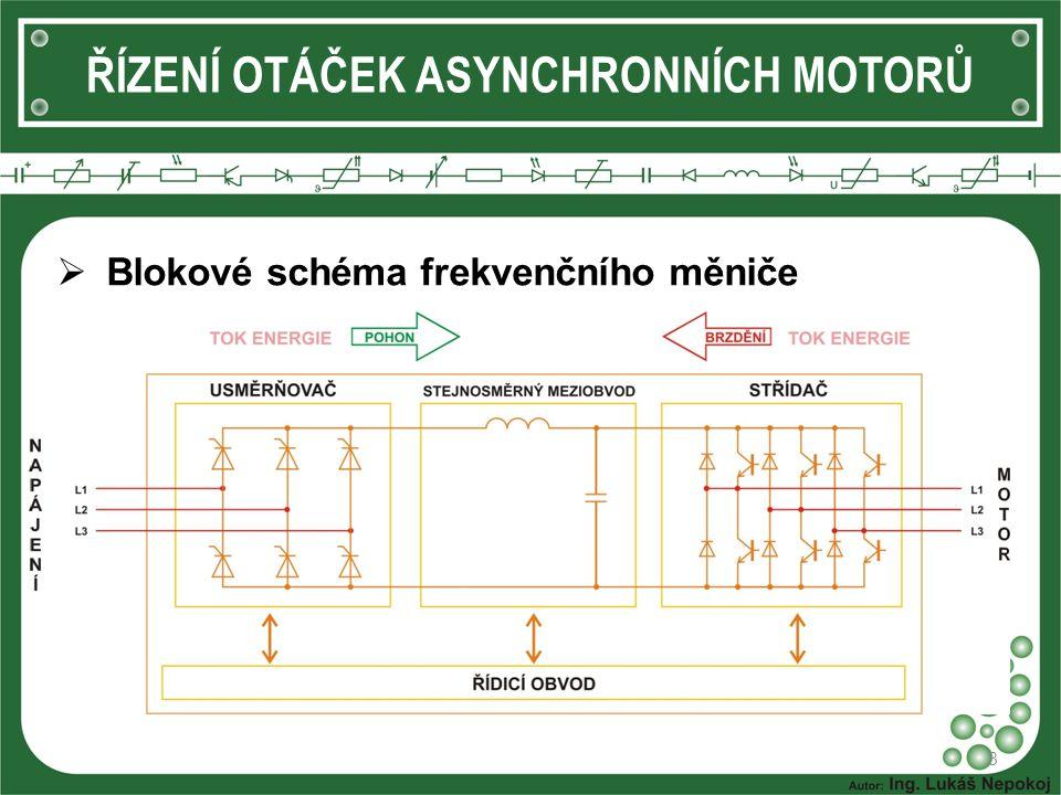 ŘÍZENÍ OTÁČEK ASYNCHRONNÍCH MOTORŮ  Frekvenční měnič 9  Otáčky motoru jsou řízeny plynule (téměř od nuly) a s minimálními ztrátami.