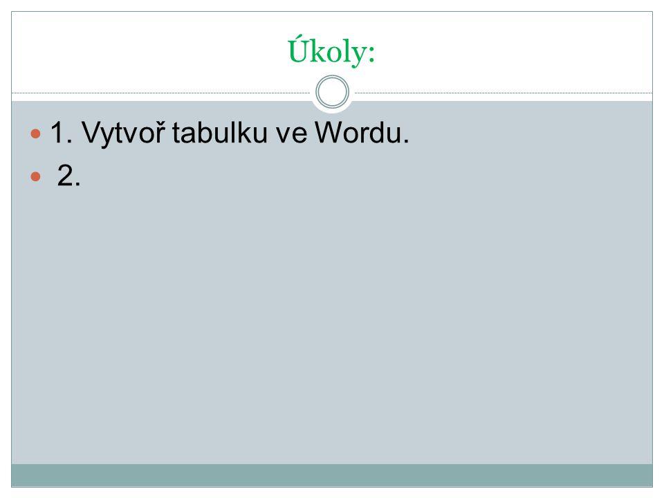 Úkoly: 1. Vytvoř tabulku ve Wordu. 2.