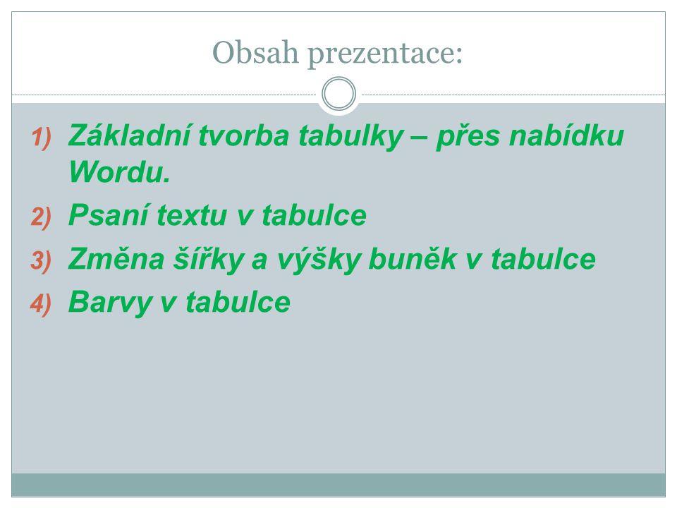 Obsah prezentace: 1) Základní tvorba tabulky – přes nabídku Wordu.