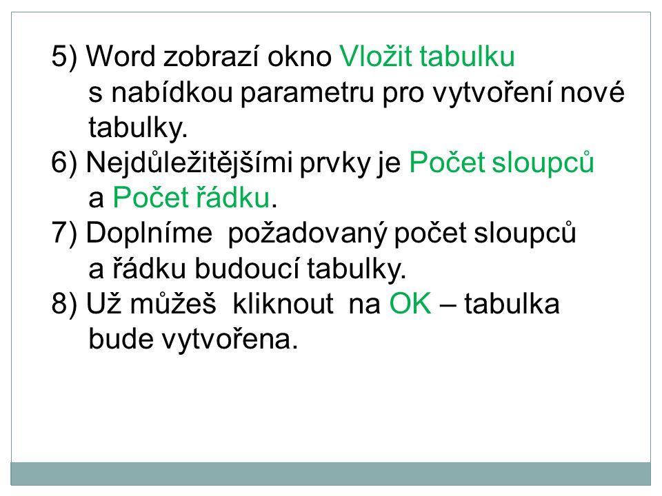 5) Word zobrazí okno Vložit tabulku s nabídkou parametru pro vytvoření nové tabulky.
